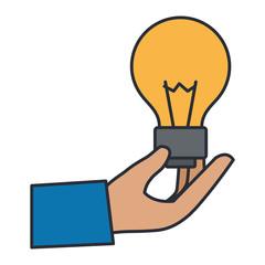 hand lifting bulb light vector illustration design