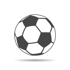 soccer ball icon with shadow on a white background