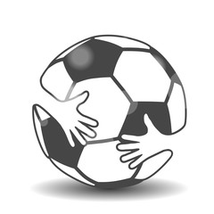 Silhouette of soccer ball with hands, hugging football