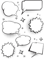 Set of comic speech talking bubbles with dots shadow. Vector illustration.