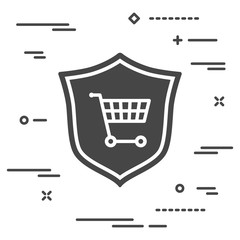 conceptual image of online shopping protection. flat shield with