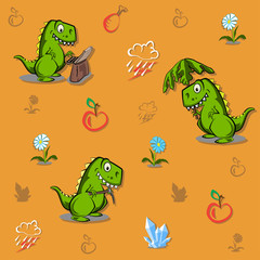 Seamless pattern with funny dinosaurs . Ideal for cards, invitations, party, banners, kindergarten, baby shower, preschool and children room decoration.