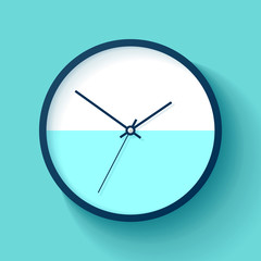 Simple wall Clock in realistic style, minimalistic timer on color background. Business watch. Vector design element for you project