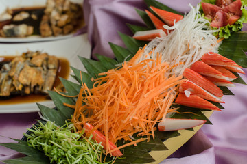 Delicious crab stick on tray.