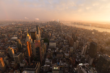 Fototapete - New York City skyline with Manhattan urban skyscrapers at dramatic after the storm sunset, USA.