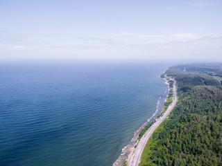 Trans-Siberian Railway, Baikal lake shore from aerial view
