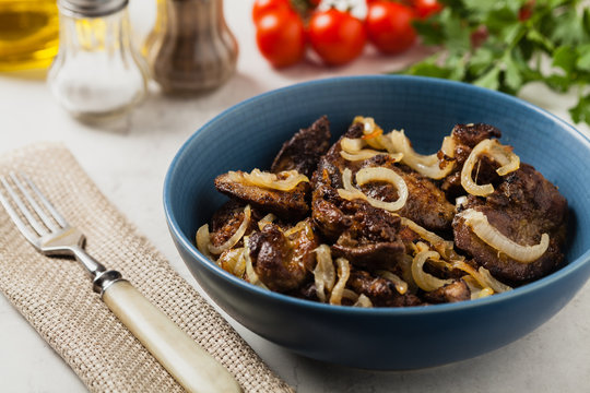 Fried chicken liver with onions.