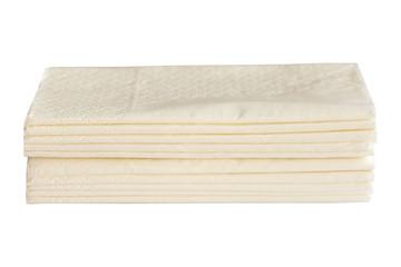 Stack of pocket napkins isolated on white background.