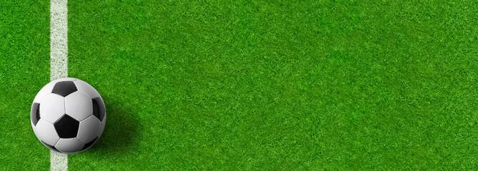 Fußball auf grünem Rasen - Panoramaformat