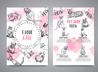 Cards with cat breeds. Cats lovers club Vector illustration Cute kitten sketch I love cats text Vector template banners for poster, invitation, flyer, party, brochure