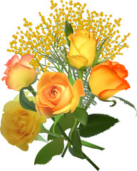 bunch of yellow roses and mimisa isolated on white