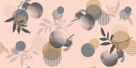 Fotobehang Grafische Prints Modern floral pattern in a halftone style. Geometric shapes, apples and branches on a pink background