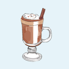Hand drawn coffee vector illustration isolated.