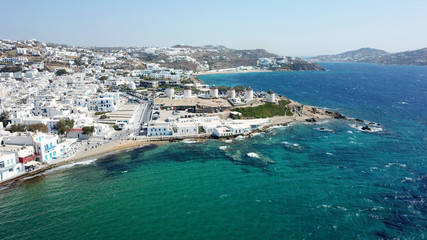 Aerial photo of iconic view from chora of Mykonos island little Venice area, Cyclades, Greece