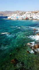 Aerial drone bird's eye view photo of iconic little Venice in old town of Mykonos island, Cyclades, Greece
