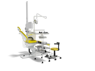 Modern dental chair with lighting with tools for drilling white with yellow inserts and with tools and an armchair for the dentist on the right 3d render on white background with shadow