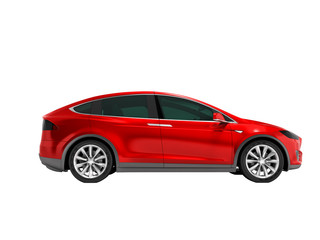 Modern red electric car minivan on side 3d render on white background no shadow