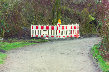 Red and White Street Barricade.