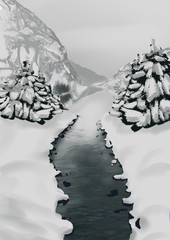 winter forest with a river
