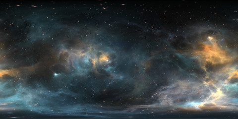 Fototapete - Space background with nebula and stars. Panorama, environment 360 HDRI map. Equirectangular projection, spherical panorama.