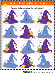 Halloween themed visual puzzle or picture riddle with witch's hat: Can you find the shadow for each picture? Answer included.