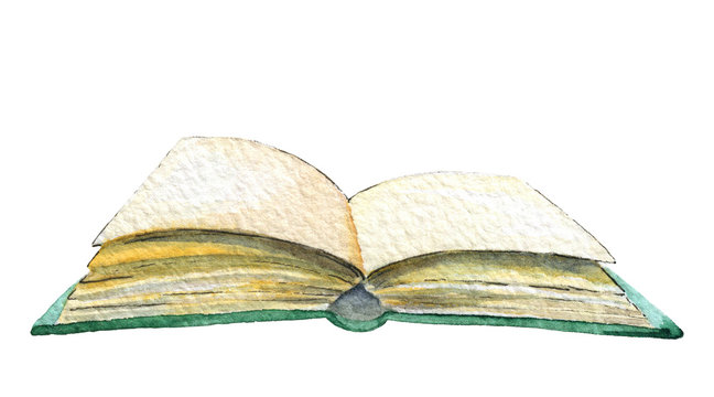 The open book isolated on white background. Watercolor hand painted illustration