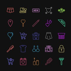 Modern Simple Colorful Set of clothes, shopping, valentine, beauty and cosmetics Vector outline Icons. Contains such Icons as makeup,  comb and more on dark background. Fully Editable. Pixel Perfect