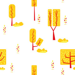 seamless tree and plant pattern