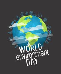 Happy world environment day card. Vector concept