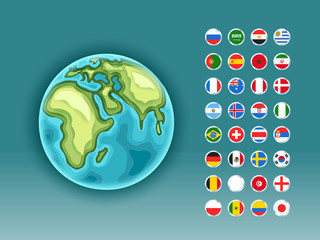 Infographics. Earth map with flags of different countries