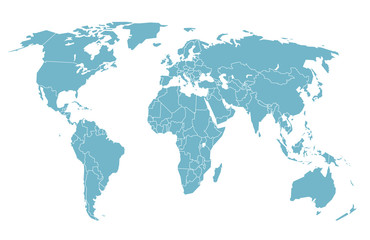 World map in perspective. Vector illustration