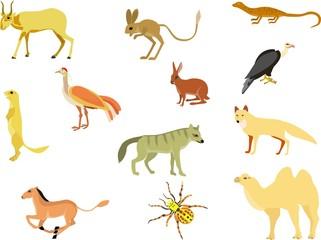 Wild desert animals's vector set isolated on white illustration, camel, rodents, antilope, hyenah, spider