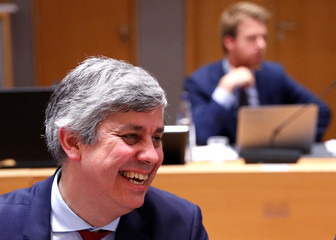 Portugal's Finance Minister and Eurogroup President Centeno attends a eurozone finance ministers meeting in Brussels