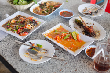 Papaya salad Esan thai menu. Finished eating