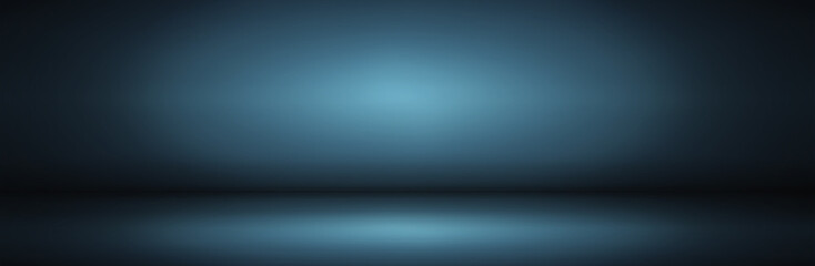 dark and soft blue  abstract wall and studio room gradient background