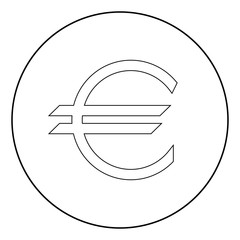 Euro symbol the black color icon in circle or round