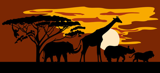 Silhouettes of animals on the background of Savannah