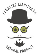 Vector banner for legalize marijuana with hipster portrait with mustache, hat and hemp leaves in round glasses. Natural product made from organic hemp. Smoking weed.
