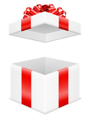open gift box with bow and ribbon stock vector illustration