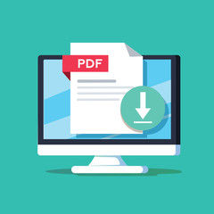 Download PDF button on desktop screen. Downloading document concept. File with PDF label and down arrow sign.