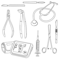 Black-and-white vector set with medical tools.