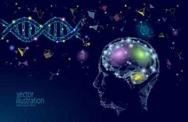 Human brain IQ smart business concept. E-learning nootropic drug supplement DNA medicine neuroscience braingpower. Brainstorm creative idea project work low poly polygonal vector illustration