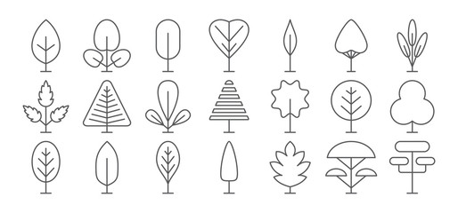Tree line icon set. Vector collection. Different thin simple outline