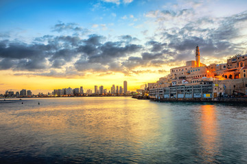 Jaffa Old Town and Tel Aviv skyline on sunrise, Israel