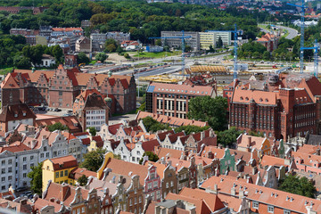 The panoramic view from the Gdansk cathedral of Saint Virgin, Poland
