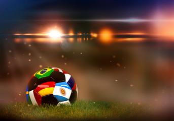 Fußball Weltmeisterschaft, Fußball mit verschiedenen Fahnen im Stadion