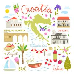 Croatia illustration symbols. Cute travel icons about Croatia
