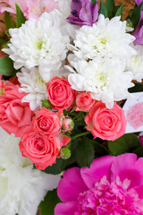 Multicolored bouquet for holiday, St. Valentine's day, wedding, birthday. Vertical photo.