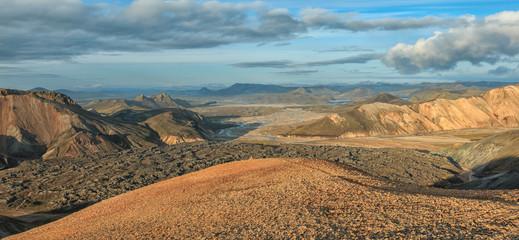 Panorama Nationalpark Landmannalaugar. Großartiges Island. Camping und Wandern.