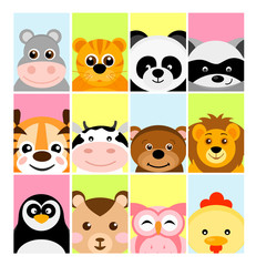 Vector illustration of adorable cute baby animals on color backgrounds for banner, flayer, placard for children in flat cartoon style.